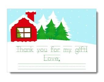 Printable Christmas Thank You Note, Christmas Thank You Card for Kids Printable, Holiday Thank You Notes for Kids, Snowy Thank You Card