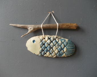 FISH Decor / Driftwood Art / Fish on Thread / Ceramic Fish / BLUE Fish / Nautical Beach House Decor / Blue / Happiness / Sea