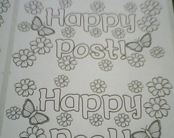 Colour your own - happy post stickers