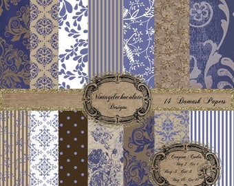 ON SALE Blue and White Digital Paper, Digital Scrapbook Paper, Digital Vintage Blue Rose Paper, White with Tan Digital Paper. Navy. P01