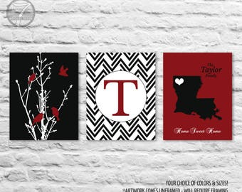 Personalized Family Tree Birds State Artwork Set of 3 Prints // Blood Red, Black // 5x7, 8x10, 11x14, 16x20 // Family Art Prints, Unframed