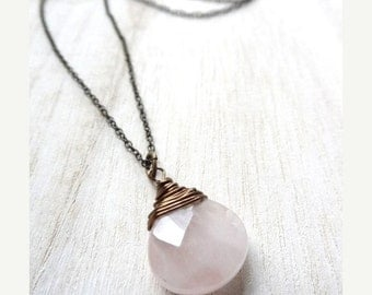 ON SALE Simple Pink Rose Quartz Bronze wire wrapped Pendant Necklace