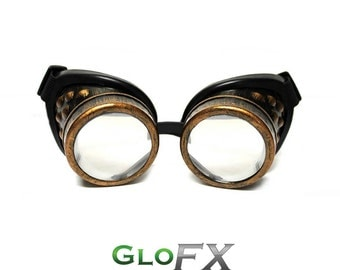 GloFX Copper Steampunk Padded Goggles Rave Welding Cyber Punk Goth Dieselpunk Glasses