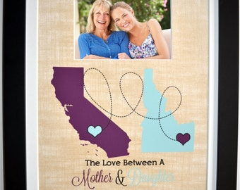 Mother daughter map, moving away missing you present, custom mom gift, mother's day gift for mom, long distance relationship love art