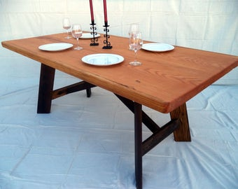 Farmhouse Table built with Reclaimed Douglas Fir beams ( Local pickup/ delivery only please )
