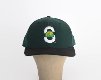 Vintage 90s SONICS Hat / 1990s New Era Seattle Embroidered Logo Cotton Snapback Cap