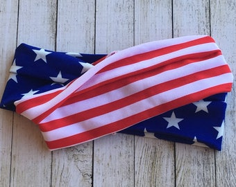 Red White and Blue Stretch headband