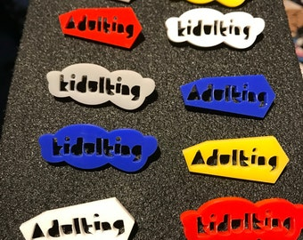 Kidulting / Adulting chunky colourful acrylic pins - playful typography - 80s style - primary colours