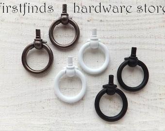 2 Drawer Handles White Ring Pulls Black Furniture Knobs Cupboard Kitchen Cabinet Door Vintage Dresser Iron Painted Metal ITEM DETAILS BELOW
