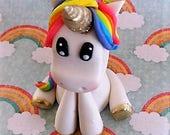 Fondant unicorn cake topper, edible uniorn, rainbow, horse, animal cake topper, unicorn bithday party, gold unicorn, kids party, 3D unicorn