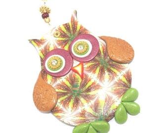 SALE 20% OFF - Wall decor owl, polymer clay elegant owl, a single owl in maroon, green, orange, gold and red, nursery owl decor
