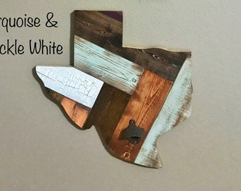 Distressed Wooden Texas in Turquoise and Crackle White, Texas Wall Hanging, Farmhouse Decor, Man Cave Must Have