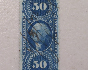 US 1862 Original Process Revenue Stamp, Scott # R60c, Washington 50 cents. 19th Century Stamp