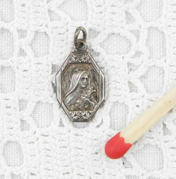 Antique French Religious Silver Plated Medal of Saint Teresa, St Therese Catholic Religious Rosary Charm, Christian Religion, Normandy