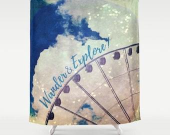 Fabric Shower Curtain, Bathroom Decor - Wander & Explore,  Ferris Wheel, Festival, Photography by RDelean Design