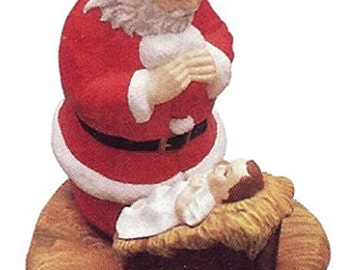 "Lg Kneeling Santa 8 3/4"" ready to paint ceramic bisque"