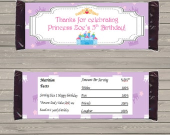 Customizable Printable Princess Candy Bar Wrapper for 1.5 oz Hershey Bars