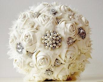 Fabric Flower Bouquet Vintage Style Wedding Handmade Bridal Brooch