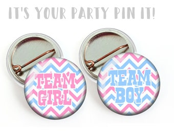 Gender Reveal Party Favors Team Pink Team Blue Chevron 1 inch Pinback Buttons or 1 inch Flatback Button Pink and Blue