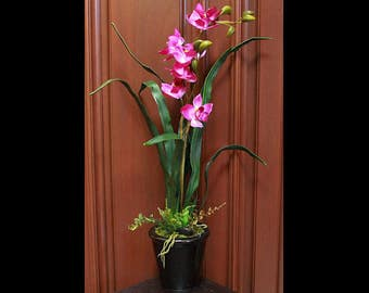 Silk Floral Arrangement - Deep Purple Orchid (S17-43)
