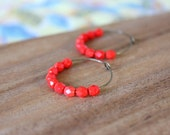 bright coral red czech glass hoop earrings