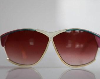 Vintage Oversize Crystal Frame, Purple, Blue stripes, Gradient Red Lenses
