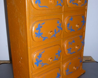 Spice Cabinet - Medicine Chest - Apothecary Cabinet - Folk Art Painted Tole Metal Cabinet with 8 Drawers