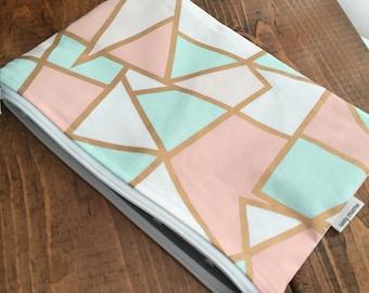 Pink Geometric zipper pouch