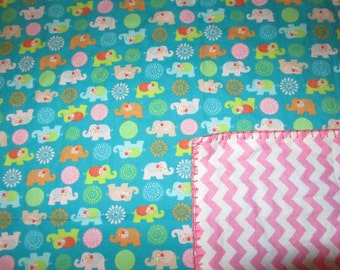 Blue Girly Elephant/Chevron Double-sided Flannel Baby/Toddler Blanket