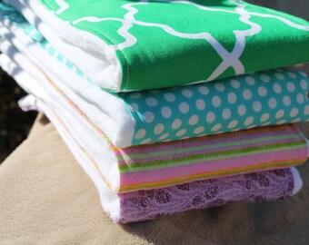 Gender Neutral Burp Cloth set of 4, Green, Blue dot, Stripes, Purple