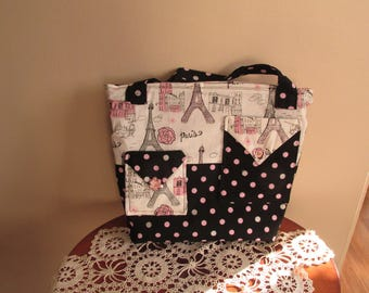 Paris Purse, Black and Pink Purse, Handbag