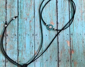 Suede Wrap Choker Necklace, Black Suede, Turquoise, Silver, Bolo Necklace, Wear Many Ways, Ready to ship