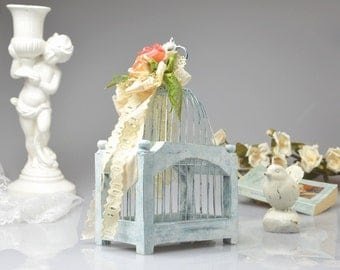 Decorative Vintage Birdcage Hand Painted Wooden Bird cage Wedding Decor Blue Shabby Chic Birdcage Home Decor