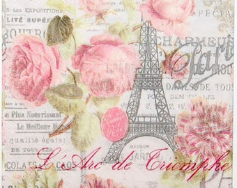2 Paris Paper Napkins, Eiffel Tower Decoupage Paper Napkins, Paris Flower Paper Napkins for Decoupage, Mixed Media, Collage, Scrapbooking