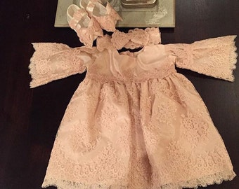 Chantilly Lace Baby Girl Dress with Matching Shoes and Headband