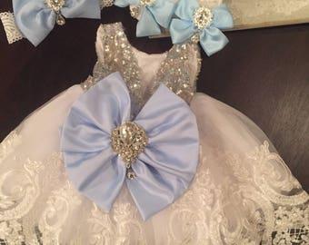 Pageant blue bow Dress | Flower Girl Dress | Wedding Dress | Bridal Dress | Easter Dress | Lace Dress | white Dress | White Dress | Toddler