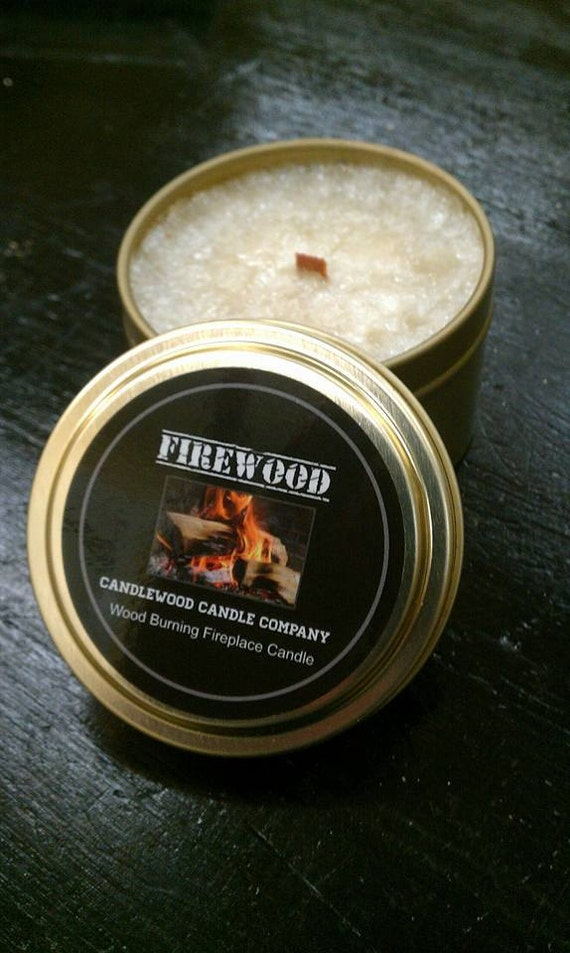FIREWOOD - Travel Tin - Authentic Wood Burning Wood Wick Fireplace Candle - 6 oz - Free Shipping in the USA