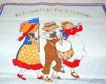 Holly Hobbie Bi-Centennial Vintage Tea Towel Linen Calendar 1975/76