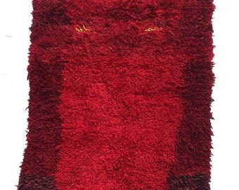 Vintage Moroccan Rug, 5' 6'' by 2' 5'' Mid Century Modern
