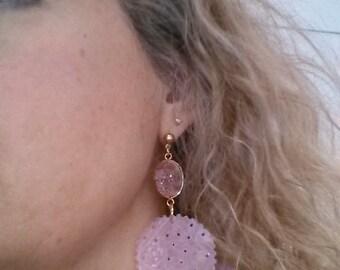 Earrings Lovely Rose Quartz and Agate Bezelled Druzy