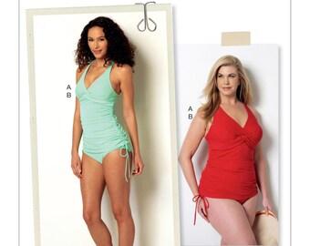 Butterick B6360 Misses'/Women's Twist-Front Tankini and High-Waist Bikini Bottoms Swimsuits Sewing Pattern