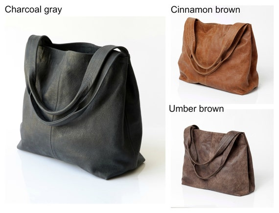Clearance / Dark brown leather bag Soft leather bag