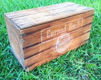 Vintage Packing Box, Wooden Crate, Storage Box, Wooden Box, Corned Beef Shipping Crate, Crate, Georgia Crate