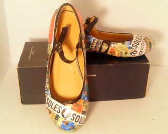 ONE OF A KIND collage shoes. Custom made for Soles4Soles charity. Artistic shoes from the 'sole' of Michelle Monet. Sold.