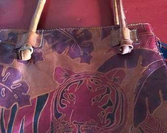 Vintage Leather Tribal Pattern Handbag