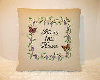 Bless This House Pillow - Embroidered Butterfly and Wisteria Pillow - Wedding Gift - Housewarming Gift - Home Decor Pillow - Gift for Bride