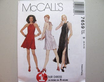 Vintage McCalls 7659 Halter Dress Sewing Pattern - Never Used - Misses Size 8, 10, 12 Party Dress Pattern - Vintage Sewing Supplies