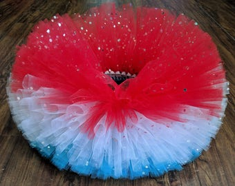 Fourth of July Sparkle Tutu - Patriotic Tutu - America Tutu - Adult Patriotic Tutu - Kids Red White and Blue Tutu