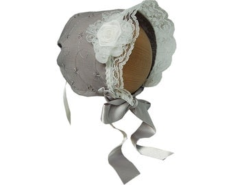 Baby bonnet newborn grey with white lace