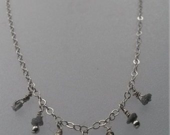 Sterling silver and raw diamond necklace